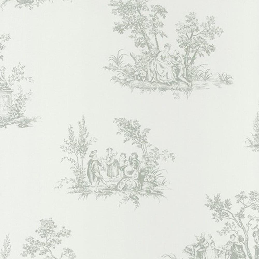 81517105 - Fontainebleau Grey White 18th-century Nature Casadeco Wallpaper