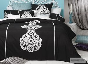 New-LOGAN-and-MASON-CALYPSO-BLACK-White-Motif-KING-Quilt-Doona-Duvet-Cover-Set