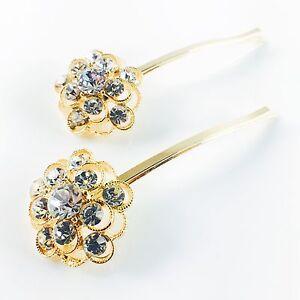 USA Vintage Bobby Pin Rhinestone Crystal Hair Clip Hairpin Jeweled Flower Silver
