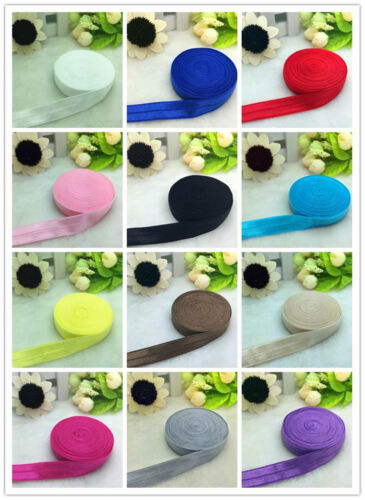 """5 10 20 50 Yards 5//8/"""" 15MM Fold Over Elastic Spandex Satin Band Ties Accessorie"""