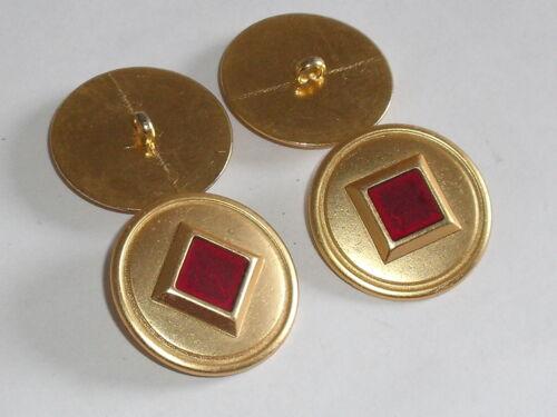 6 Stück Metallknöpfe Knopf Knöpfe Ösenknopf  30 mm gold-rot NEU rostfrei 0498