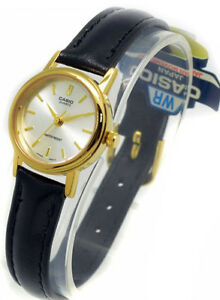 Casio-Ladies-Gold-Analog-Smooth-Black-Leather-Band-Watch-LTP-1095Q-7A-New