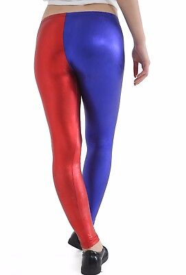 Women Metallic Wet Look Blue And Red Leggings Harley Quinn Suicide Squad Pants Verpackung Der Nominierten Marke