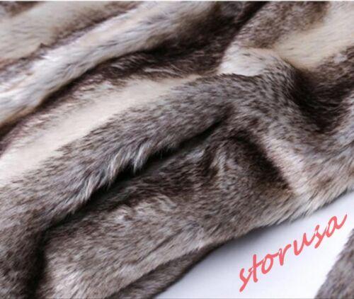Fashion Homme Golilla Col Slim Fit Luxe Fourrure de lapin Manteau long Formal Veste