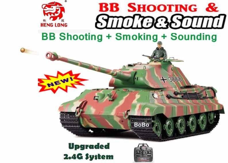 RC Carro armato HENG lunga Tiger 2.4G Radio Radio Radio King Telecomando RC Militare dell'Esercito BB Tank 7764f7