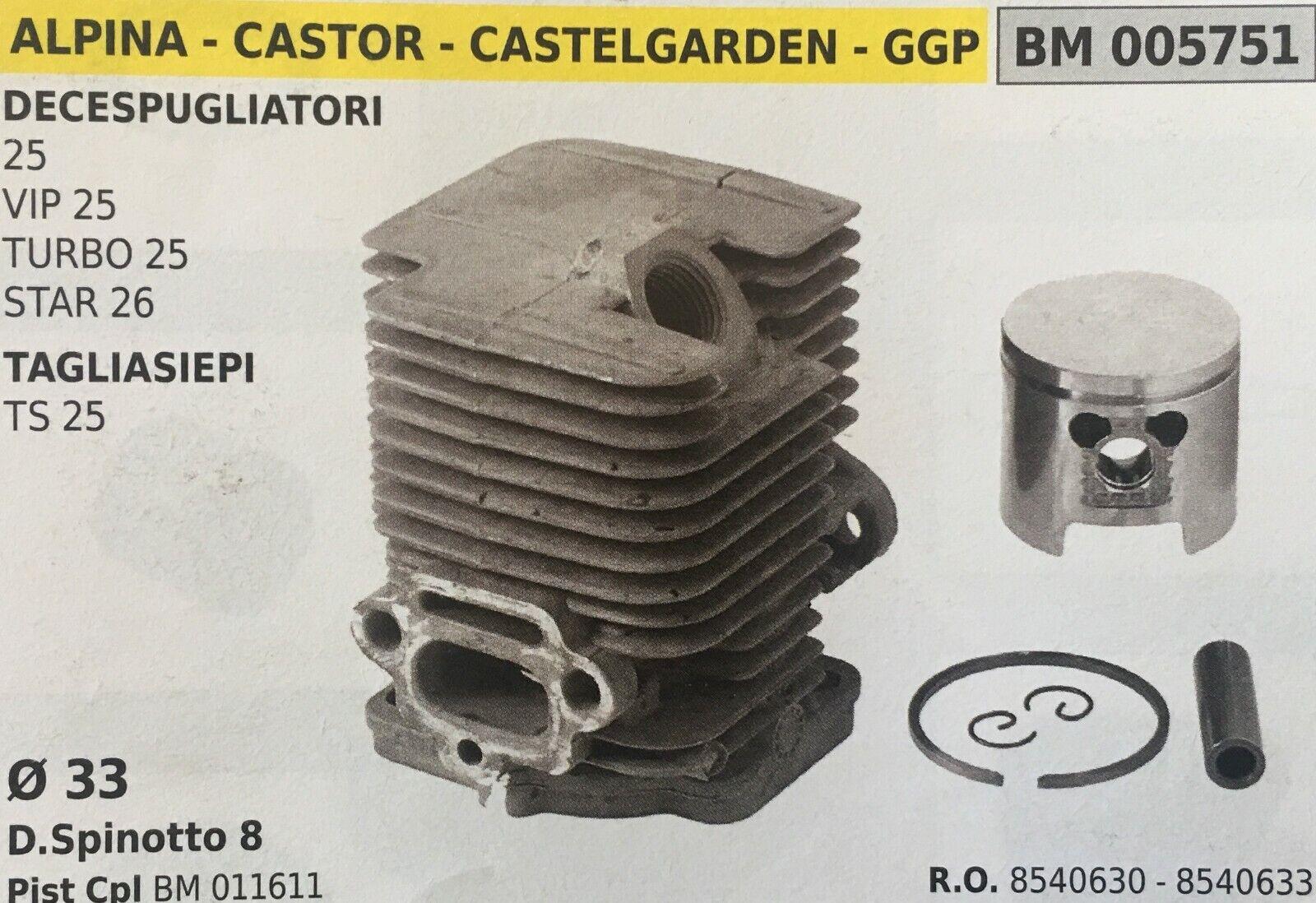 CILINDRO COMPLETO DI PISTONE E SEGMENTI BRUMAR BM005751 ALPINA-CASTOR e altri