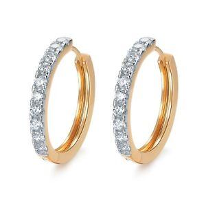 18k Yellow White Gold Swarovski Crystal hoop huggies earrings 27mm