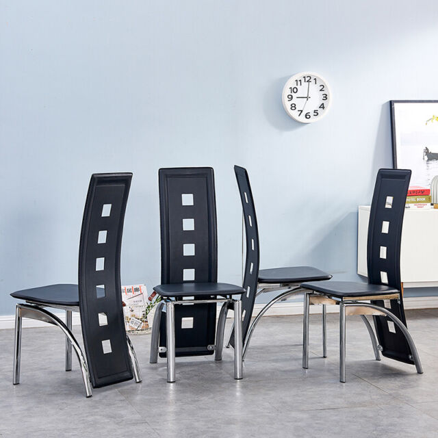 4x Black High Back Faux Leather Dining Chairs Metal Legs Kitchen Dinning Room Uk