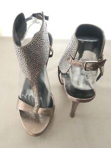 "cdd8a169117 Steve Madden ""Glitsi"" Silver Crystal Platform T-Strap Heels ~ Size ..."