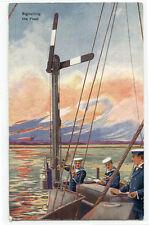 Signalling The Fleet Semaphore British Navy Ship 1910c postcard