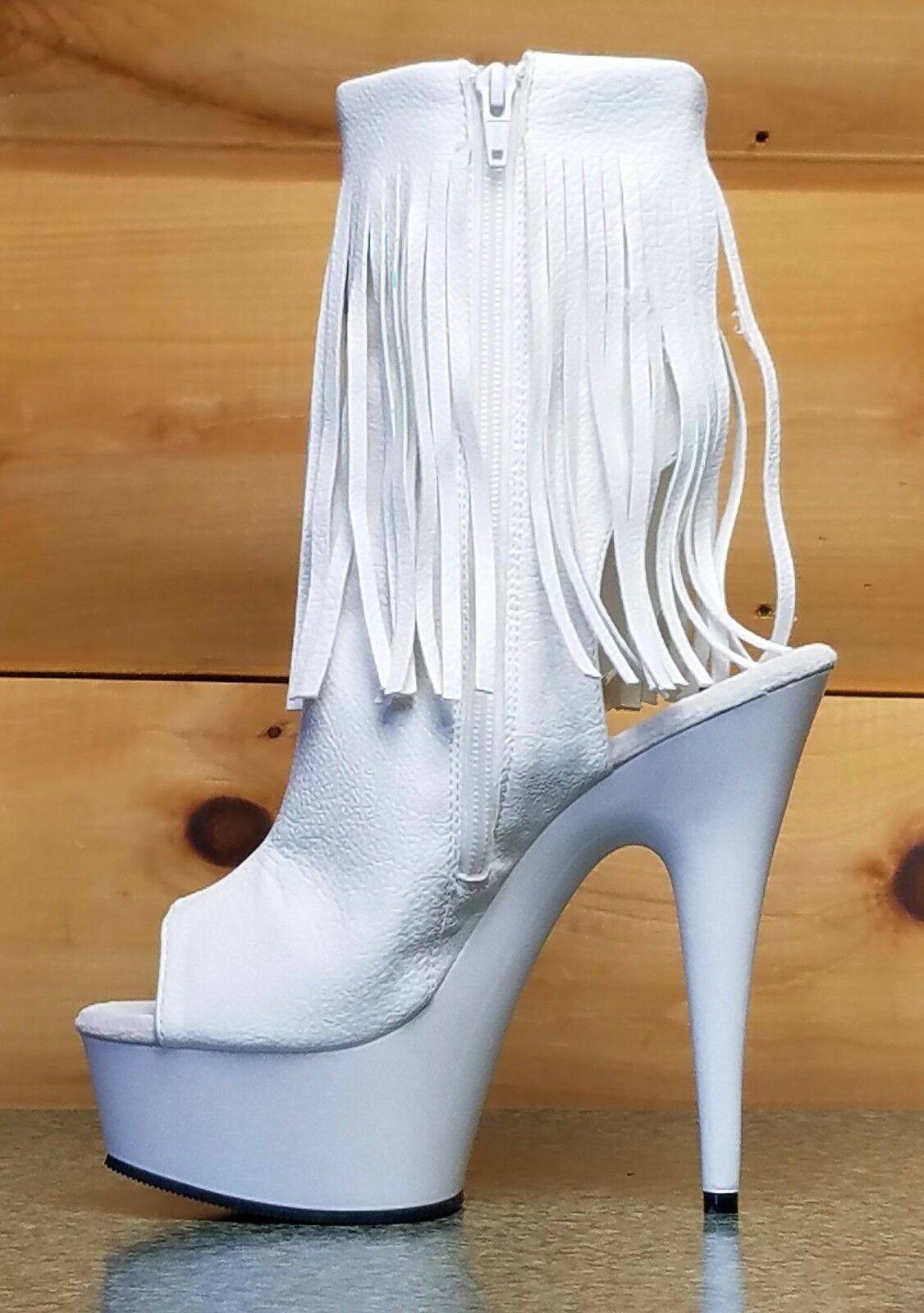 Delight 1019 WEISS Fringe Open Back/Toe Clear Platform Ankle Boot 6-11