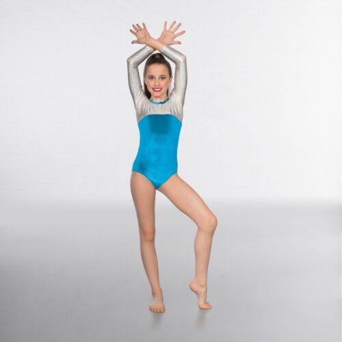 1st Position Velour Silver Hologram Long Sleeved Dance Gymnastics Leotard