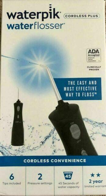 NEW  BOX Waterpik WP-462 Waterflosser Cordless Plus - Black W/ 4 tips