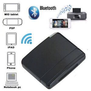 Wireless Bluetooth Music Receiver Adapter to 30-Pin Speaker for iPod iPhone