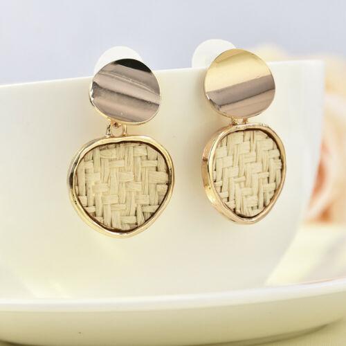 Fashion Geometric Round Hand-woven Natural Rattan Straw Pendant Hoop Earrings