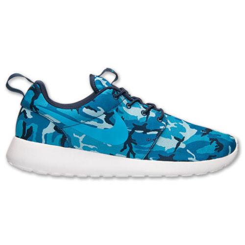 NIKE ROSHERUN PRINT Roshe fonctionnement baskets chaussures décontractées uk 8.5 (eu 43) bleu camo-