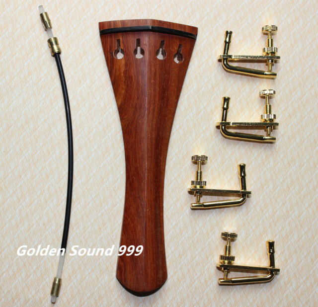 High quality rosewood Violin Tailpiece 4/4 size with Tail Gut four fine tuners