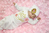 Cute Little Sister Baby Girl Clothes Newborn Take Home outfit Baby Gown Hat Set