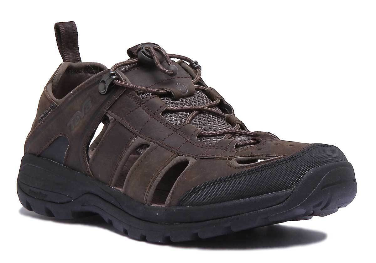 Teva Kimtah Damenschuhe Dark Dark Dark Braun Leder Matt Sandale 7f0752