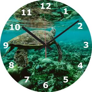 Horloge murale Tortue 25 cm Plage Vie Marine Animal Nature Faune Home Decor 305