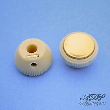2 BOUTONS VINTAGE HOFNER VIOLIN BASS TEA-CUP KNOBS Off-White Gold Reflector Cap