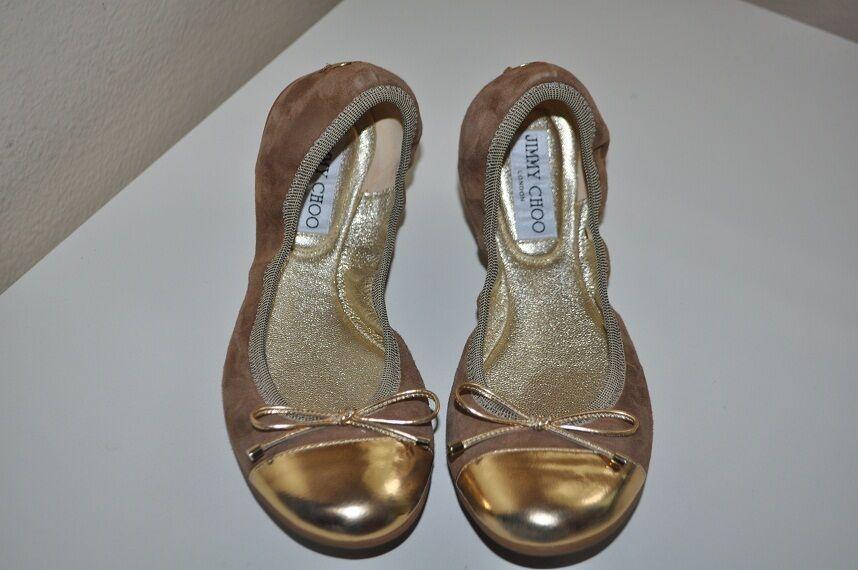 NIB Jimmy Choo Sz 37 WALLACH Weekend Bow Ballet Flat Flat Flat shoes Brown   gold Sz 7 a8b949