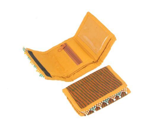 Handmade Vintage Tribale Portafoglio Trapuntato batik stampato in tessuto portamonete Fairtrade