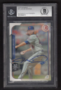 2015-BOWMAN-JACOB-DeGROM-AUTOGRAPHED-NY-METS-CARD-Slabbed-Beckett-Authentic