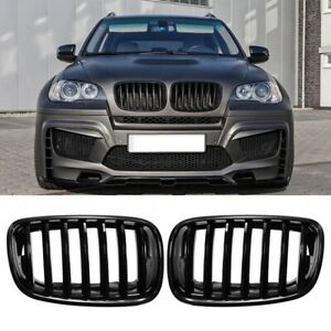 Car-Gloss-Black-Front-Bumper-Intake-Kidney-Grills-Grille-for-BMW-E70-E71-X5-D3H5
