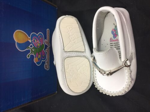 Baby Boy White Leather Loafers Slip on Shoes Infant Size 0 to 3 Soft sole New