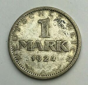 Dated-1924-A-Silver-Coin-Germany-1-Mark-Weimar-Republic-Mark