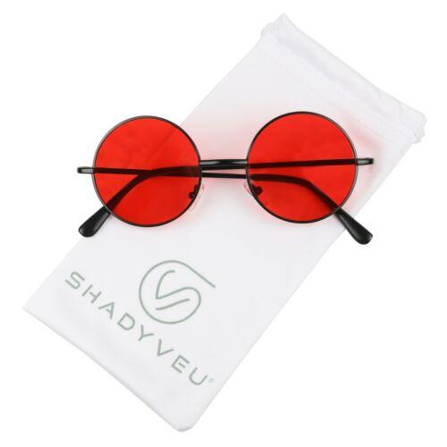ShadyVEU Black Frame Red Lens Blue Blocking Circle Wire Metal Frame Sunglasses