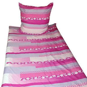 Microfaser-Bettwaesche-Set-Pink-Grau-Weiss-Streifen-mit-Blumen-NEU