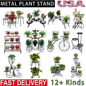 Metal-Plant-Stand-Garden-Decor-Flower-Pot-Shelves-Outdoor-Indoor-Wrought-Iron-US