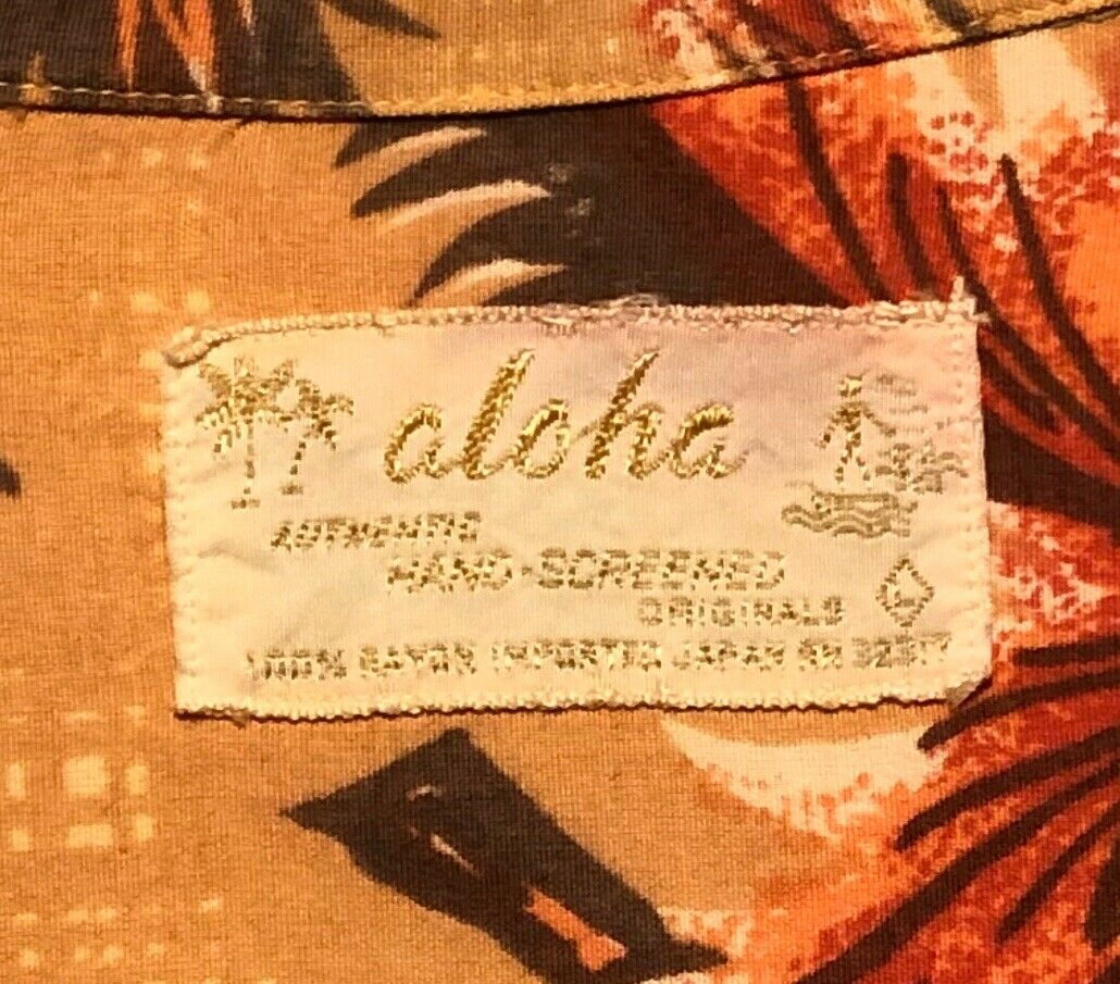 Vintage 1960's Aloha Light Orange Palm Trees Rayo… - image 3