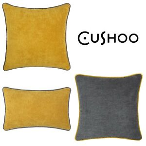 Details About Mustard Yellow Cushion Dark Grey Piping Oblong Sofa Throw Top Pillow Case Cover