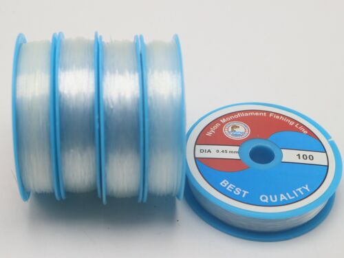 2 Roll Clear Nylon Fishing Wire Non Stretch Beading Cord Invisible 0.3mm-0.5mm