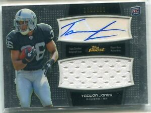 best loved 9fadc 4cae8 Details about 2011 Topps Finest Taiwan Jones JERSEY RELIC AUTO AUTOGRAPH RC  135/589 RAIDERS
