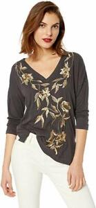 Lucky-Brand-Women-039-s-Metallic-Embroidered-Floral-Tee-Top-Blouse-Size-Small