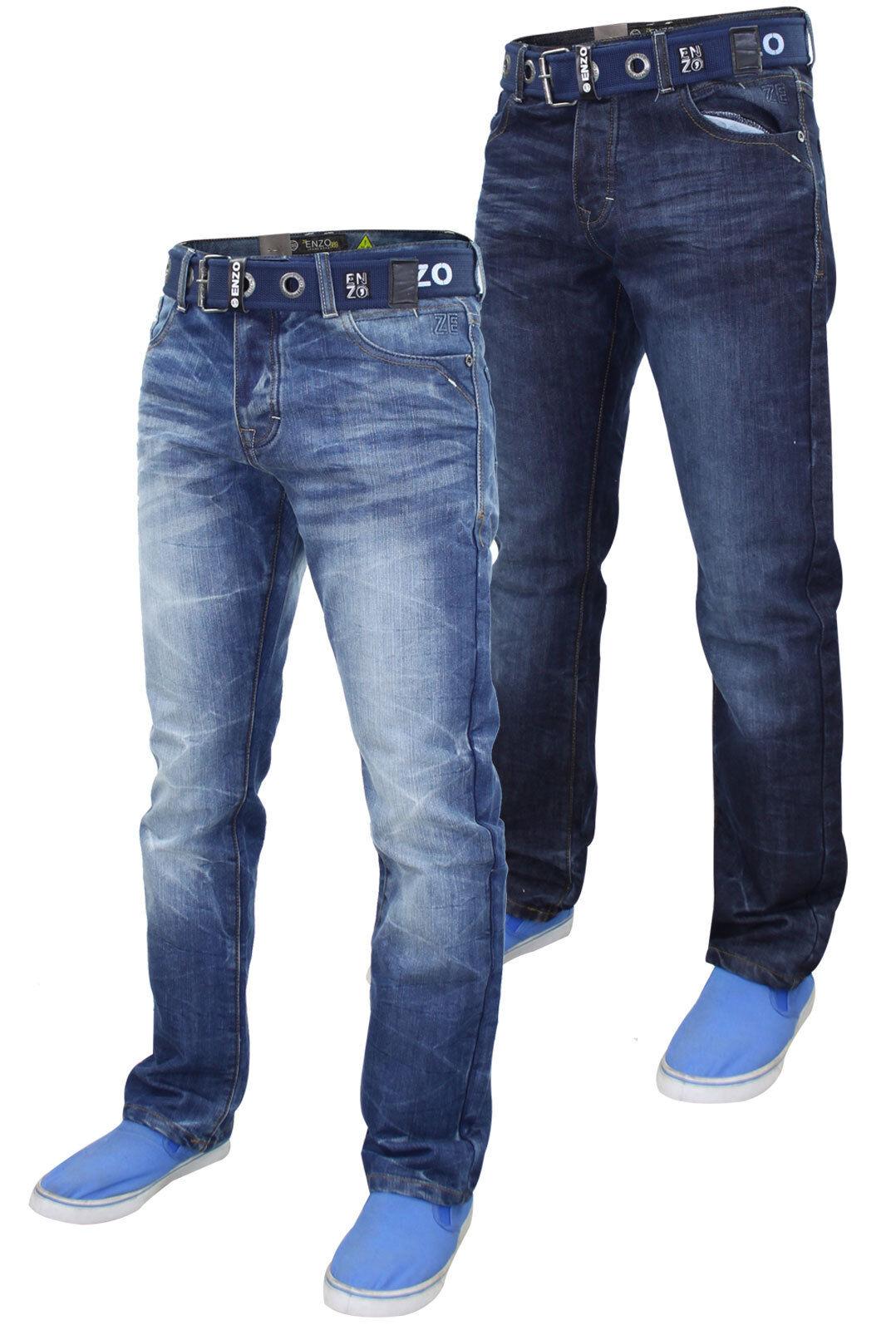 Herren Enzo Ez384 Designer Reguläre Passform Gerades Bein Gratis Gürtel Jeans  | Lebhaft und liebenswert