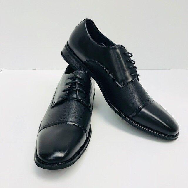 Men's Amali Black Dress shoes Embossed Upper Wide Smooth Cap Toe Sizes 8.5 - 15