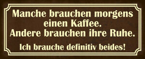Coffee And Ruhe Tin Sign Shield Arched Metal 10 X 27 CM K0269