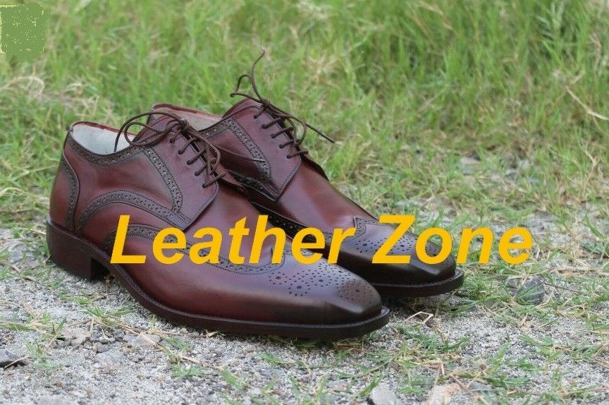 Handmade Mens wingtip brogue formal shoes, Men dress shoes, Men leather shoes