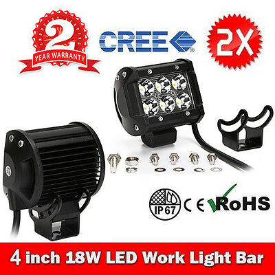 2x 4INCH 18W CREE LED WORK LIGHT BAR DRIVING FLOOD OFFROAD 4WD 12V TRUCK LAMP