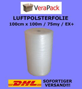 LUFTPOLSTERFOLIE 100cm x 100m / 75my EXTRA+ Noppenfolie Blasenfolie TOP ANGEBOT