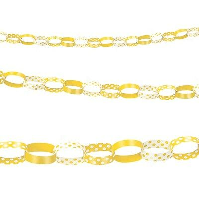 5ft Yellow White Polka Dot Spot Style Party Paper Chain Garland Decoration
