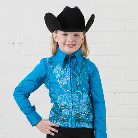 Girls' Turquoise Lace Sequin Show Vest
