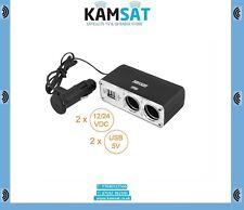 Splitter Cigarette Lighter Socket Plug 2 sockets + 2 USB port 12-24V Cabel Lengt