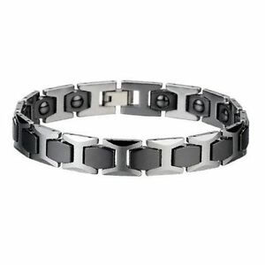 New Men Tungsten Carbide Bracelet W Therapeutic Magnets
