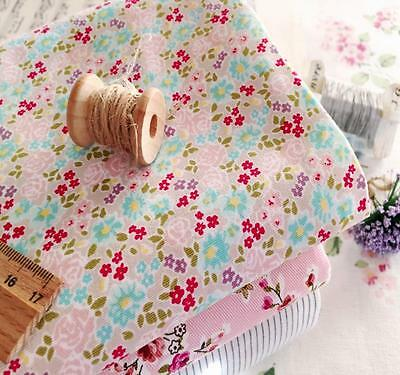 Cottage Farmhouse Country Rose Daisy Blue Red Pink Lilac Flower Cotton Fabric FQ